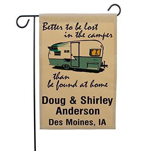 Better to be Lost in the Camper than be Found at Home, Happy Campers Personalized Campsite Sign, Garden Flag, Customize Your Way (Turquoise Trim) (Campsite Signs)
