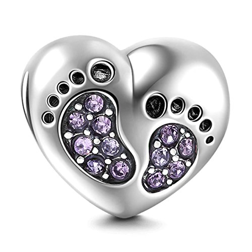 Heart Love Baby Footprints Charms 925 Sterling Silver Jan-Dec Birthstone Crystal Charms Beads for Bracelets (Purple June Stone) ()