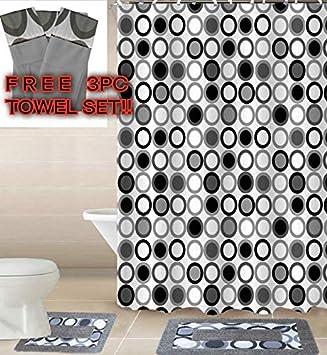 Empire Home 15 Piece Elegant Bathroom Set Bath Rugs Shower Curtain Hooks + Free 3 Piece Towel Set (Black & Gray Kadir)
