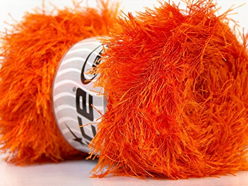 LG 100 gram Orange Eyelash Yarn Ice Fun Fur 164 Yards