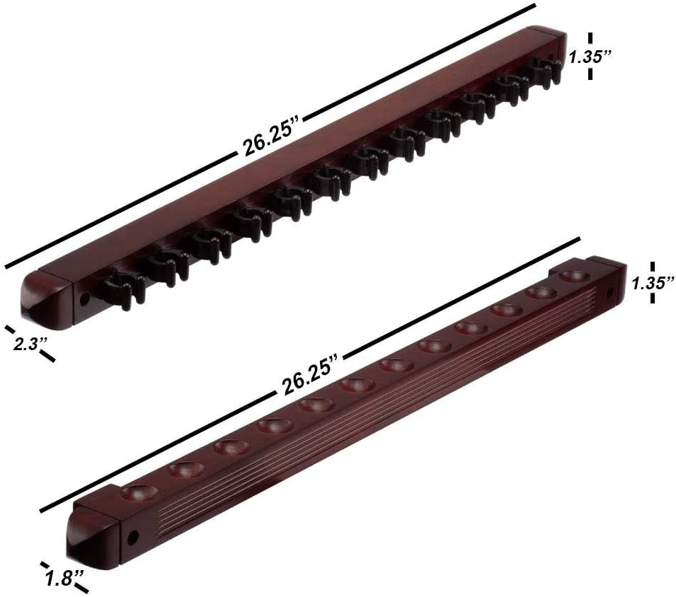 GSE Games /& Sports Expert 6//8//12 Pool Cue Wall Mounted Rack Billiard Cue Sticks Wall Rack Several Colors Available