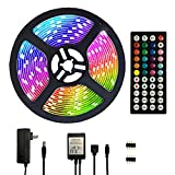 Segrass 16.4ft 5050 RGB Led Strip Lights,5M 150 LEDs Rope Lights, IP20 Non Waterproof Color Changing with 20 Colors 8 Light,LED Light Strips Kit with 44 Keys IR Remote Controller and 12V Power Supply