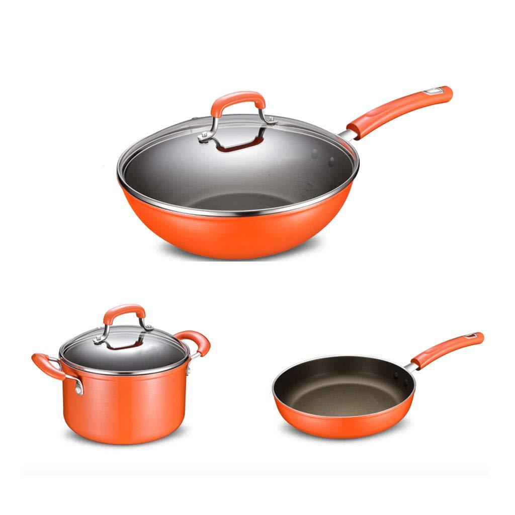 調理器具消耗しにくいオイルスモークスティッキーではありません一般目的スープポットパンウォックスリーピーススーツポットコンビネーション (色 : Orange)  Orange B07L1FMQ46