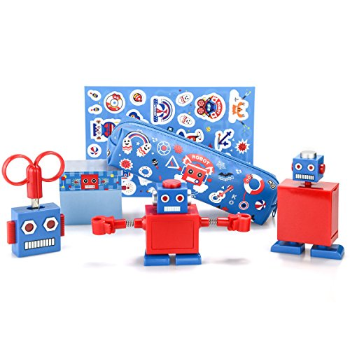 xincx Creative Robots Stationery Sets Scissors Pencil Sharpe