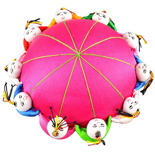 Rimobul Oriental Needle Pin Cushion with 10 Kids - Magenta