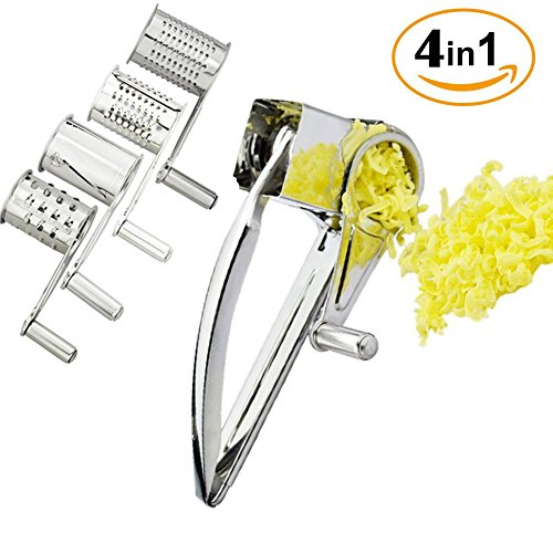 Rotary Cheese Grater Stainless Steel Slicer with 4 Metal Drums for Soft and Hard Cheese Parmesan Chocolate Nuts Vegetable or Fruits