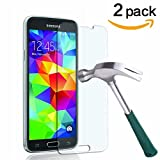 TANTEK HD-Clear Tempered Glass Screen Protector for Samsung Galaxy S5 (2 Pack)