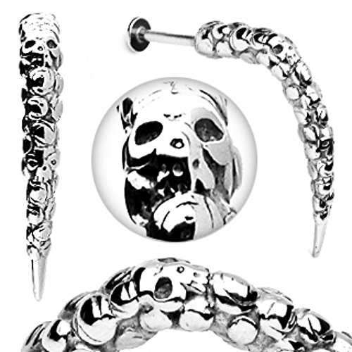 Artistic Skull Carved Long Claw Labret 316L Surgical Steel (Sold by Piece) (Surgical Steel Long Claw)