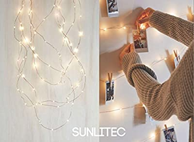 Sunlitec Solar String Lights, 100 LEDs Starry String Lights, Copper Wire Solar Lights Ambiance Lighting for Outdoor, Gardens, Homes, Dancing, Christmas Party 2 Pack
