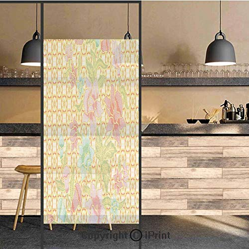 3D Decorative Privacy Window Films,Indonesian Batik Pattern with Flowers on Bound Tied Floral Background Retro Home,No-Glue Self Static Cling Glass film for Home Bedroom Bathroom Kitchen Office 17.5x7