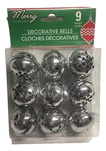 (Pack of 2) 9 Large Christmas House Aged Finish Snowflake Cutout Jingle Bells (Silver) greenbrier No Model
