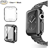 UBOLE Case for Apple Watch, UBOLE iWatch Screen Protector Soft Plated TPU All-Around Ultra-Thin Cover for Apple Watch Series 1, Series 2, Series 3, Nike+, Edition (Clear+Black, 42mm)
