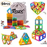 Tomons Magnetic Building Blocks Magnetic Tiles for Kids, Magnetic Blocks Stacking Blocks with Storage Bag - 64 PCS