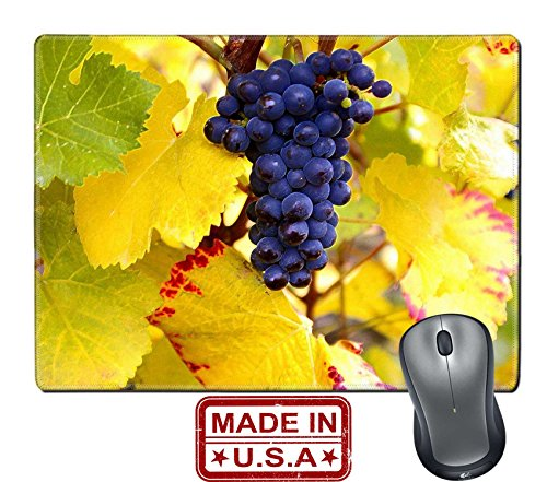 "Liili Natural Rubber Mouse Pad/Mat with Stitched Edges 9.8"" x 7.9"" IMAGE ID: 5964515 Dry Brush Pinot Noir Grapes - Edge Pinot"