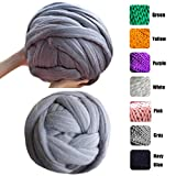 welltree Merino Soft Chunky Wool Yarn for Arm Knitted DIY Your Favorite Thick Blankets (Grey - 6.6 lbs)