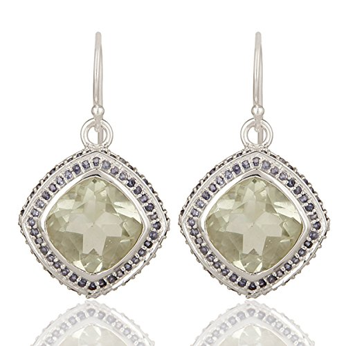 Iolite Green Earrings - Green Amethyst & Iolite Gemstone Dangle Earrings 925 Silver Bridesmaid Jewelry