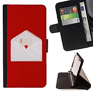 DEVIL CASE - FOR Sony Xperia Z2 D6502 - Love Ace Heart Card Game Letter Envelope Red - Style PU Leather Case Wallet Flip Stand Flap Closure Cover