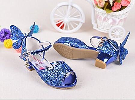 Girls Sequin Sandals Princess Crystal High Heels Shoes Dancing Shoes