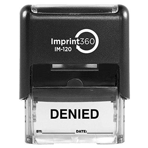 Imprint 360 AS-IMP1106K DENIED Stamp with By: & Date:, Black Ink, Heavy Duty Commercial Self-Inking Rubber Stamp, 9/16