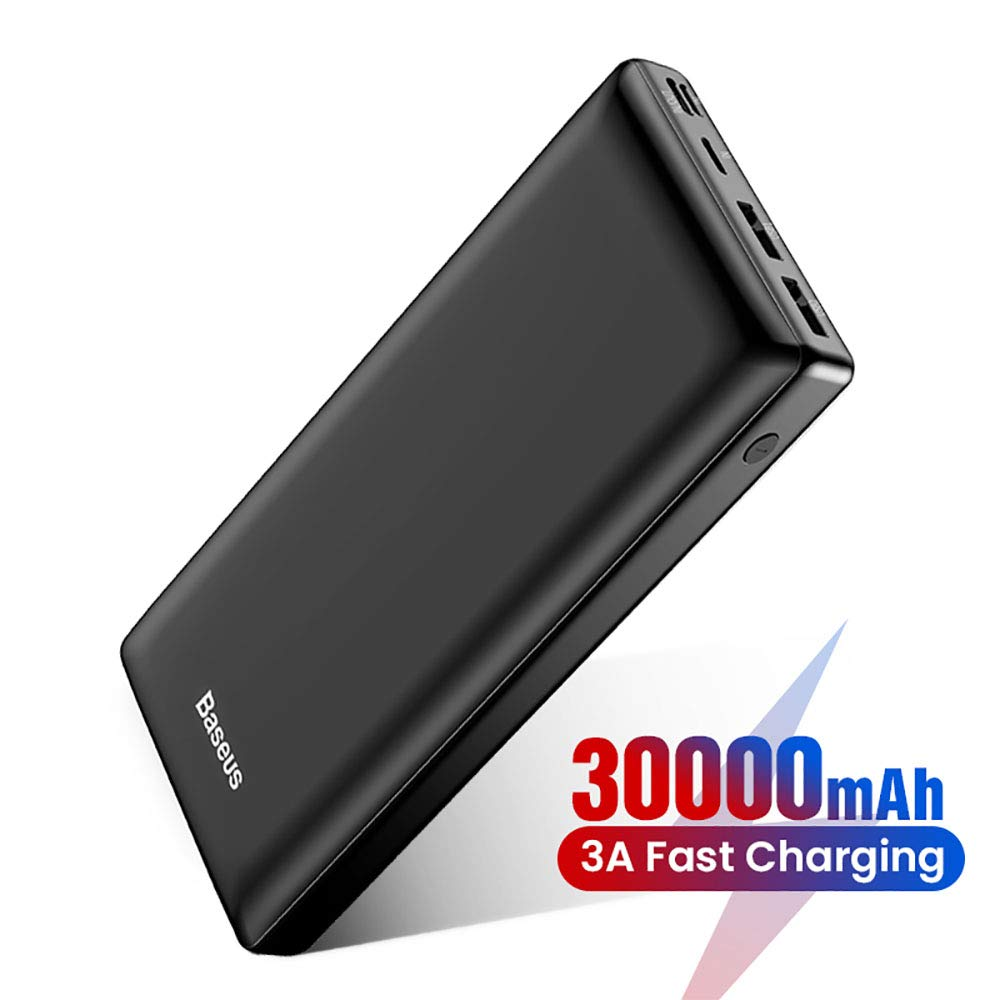 USB C Power Bank, Baseus 30000mAh Fast Charging External Battery Pack, 3 Output Port Portable Charger for iPhone 11 Pro Max, iPad, Mac, Samsung, Nintendo Switch, USB-C Laptops, Android and More by Baseus
