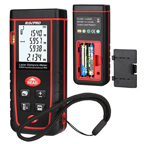 Laser Distance Meter, RISEPRO Digital Laser Rangefinder 40 Meters 131 feet Mini Handheld Area Volume Measure Diastimeter by RISEPRO (Image #2)