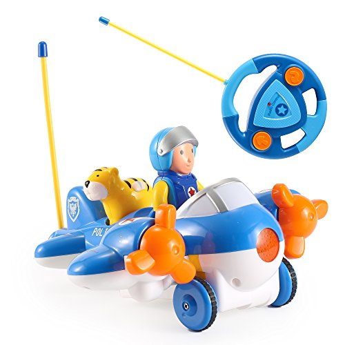 artoon Car Airplane Radio Control Toy | 2 Channel Plane Vehicle with Music and Lights for Toddlers, Kids, Young Children ()