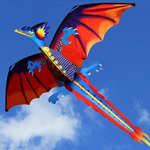 New 3D Dragon Kite with Tail Kites for Adult Kites Flying Outdoor 100m Kite Line by Unknown