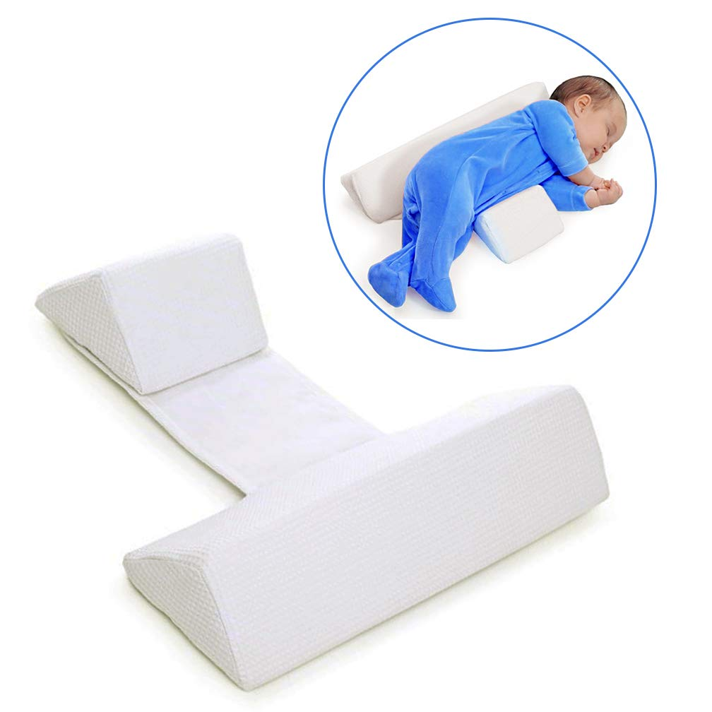 Baby Side Sleep Pillow | Maveek Newborns/Toddlers Safer Sleep Side Support Shaped Pillow | Anti-Head, Anti-Spitting Milk, Removable and Washable Pillow(White)