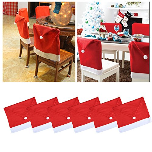 Gotian 6Pcs Christmas Chair Covers Santa Hat Cap