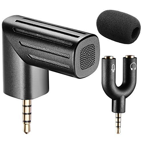 Neewer 90 Degree Rotatable Microphone with U Shape 3.5MM Mic & Headset Y Splitter and Microphone Windscreen for iPhone/iPad and Android Smart Phones, Black