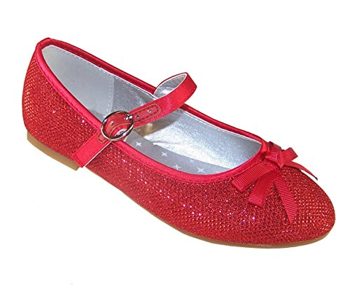 Girls' Red Sparkly Occasion Dress Party Shoes Dorothy Style Synthetic Flats