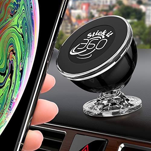 Universal Cell Phone Holder for Car, Magnetic Car Phone Mount 360 Rotation from Dashboard, 6 Strong Mobile Friendly Neo Magnets 21600 Gauss, Compatible with All Smartphones by Stick it 360 (Black) (Cell Phone Gifts)