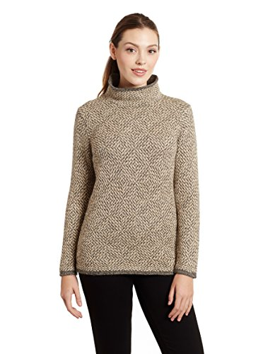Invisible World Women's 100% Alpaca Wool Pullover Turtleneck Sweater Asti Md