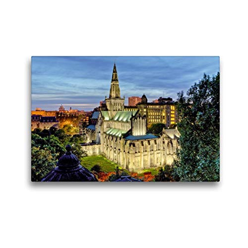 Premium Textil de lienzo 45cm x 30cm Horizontal majestä mesa? iluminada por la Catedral de Glasgow en beschaulicher de noche, 45x30 cm por CALVENDO