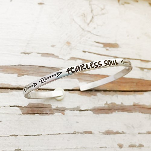 Fearless Affirmation Bracelet - Hand Stamped Fearless Soul Arrow Bracelet Affirmation Jewelry