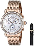 GV2 by Gevril Marsala Womens Diamond Chronograph Swiss Quartz With Additional Leather Strap Rose Gold Tone Stainless Steel Bracelet Watch, (Model: 9800)