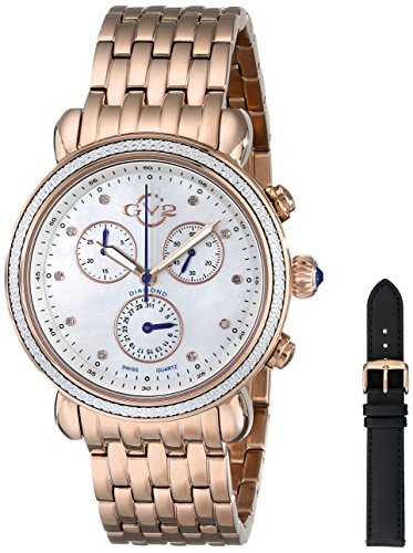 GV2 by Gevril Marsala Womens Diamond Chronograph Swiss Quartz With Additional Leather Strap Rose Gold Tone Stainless Steel Bracelet Watch, (Model: - Bracelet Diamond Chronograph