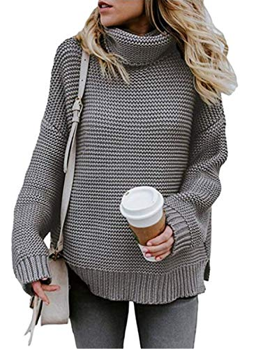 AlvaQ Womens Juniors Plus Size High Neck Sweaters Casual Cowl Neck Long Sleeve Chunky Knit Pullover Sweater Tops Grey Small - Mock Neck Tunic Sweater
