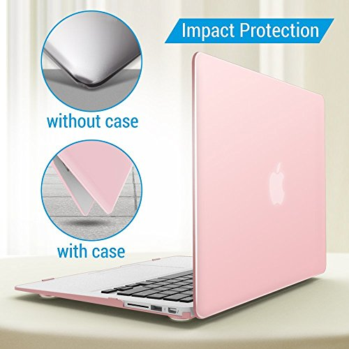 iBenzer Basic Soft-Touch Series Plastic Hard Case & Keyboard Cover for Apple Macbook Air 13-inch 13'' A1369/1466 (Rose Quartz) by iBenzer (Image #4)