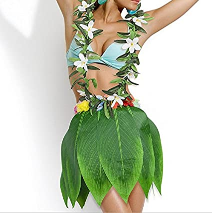 124cf1b298b5 Image Unavailable. Image not available for. Color: Green Hula Skirt Leis Flower  Necklace Set Artificial Flowers Tropical Hawaiian ...