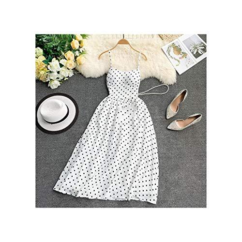 - Seaside Holiday Dress Summer Small Fresh Point V-k Slimming Tempeent Women Dress,White,One Size