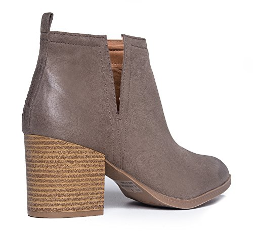 J. Adams Western Slip On Stacked Heel Bootie - Side V-Cut Boot - Distressed Leather Low Heel - Barry by Taupe Pu ib4z3LR