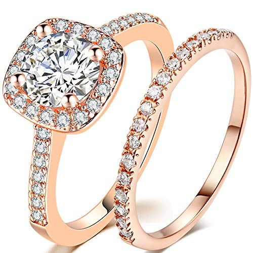Jude Jewelers Silver Rose Gold 2 Carat Wedding Engagement Eternity Bridal Ring Set (Rose Gold, 6)