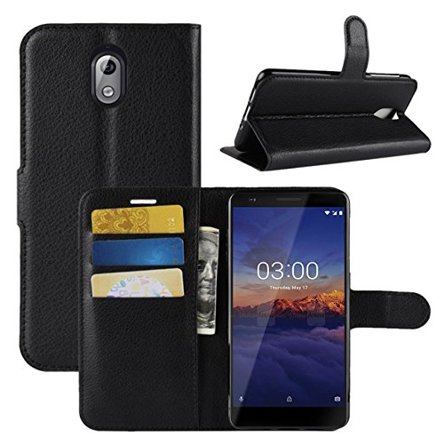 Nokia 3.1 Case, Fettion Premium PU Leather Wallet Flip Phone Protective Case Cover with Card Slots and Magnetic Closure for Nokia 3.1 Smartphone (Black)