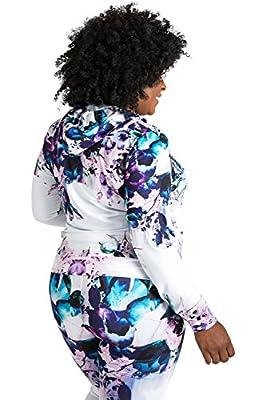 Poetic Justice Plus Size Caci Floral Print Tracksuit Hoodie Jacket