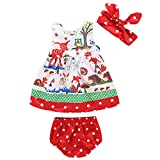 Toddler Infant Baby Girls Clothes Animals Flowers Dress + Polka Dot Briefs Macthing + Headband Summer Outfits Set (Red, 90/12-18M)