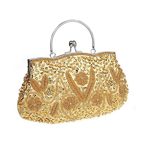Top Frame Ladies Wallet - Bopstyle Womens Floral Beaded Top Handel Evening Party Frame Clutch Purse Wallet Handbag (Gold)
