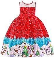 OMZIN Christmas A Line Dress Ice Cream Print Santa Sleeveless Party Dresses