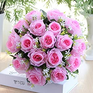 YJYdada 18Head Artificial Silk Roses Flowers Bridal Bouquet Rose Home Wedding Decor 20
