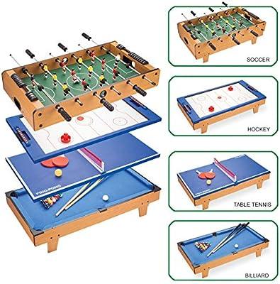 AMAIRS Mesa De Futbolín, Mesa De Juego Combinada 4 En 1 con Futbolín/Hockey sobre Hielo/Tenis De Mesa/Billar para Adultos Y Niños: Amazon.es: Deportes y aire libre
